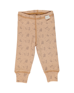 Leggings Basilic en coton biologique, Indian Tan à motifs