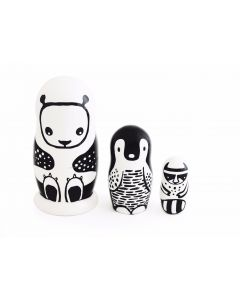 "Poupées gigognes ""Black & White Animals"" en bois"