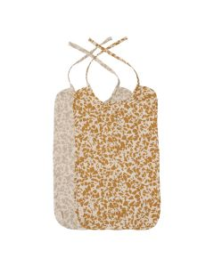 Set de 2 Bavoirs en Gaze de Coton biologique, Neutral Terrazzo