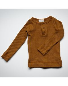 Ribbed Top en Coton Biologique, Bronze